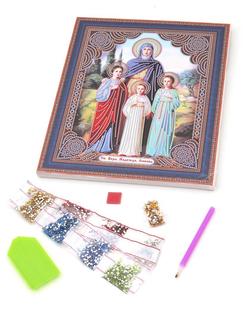 """Алмазная мозаика на подрамнике """"Святые Вера, Надежда, Любовь и мать их Софья"""" икона"""