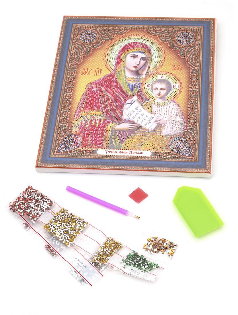 """Алмазная мозаика на подрамнике """"Божией Матери Утоли Моя Печали"""" икона"""