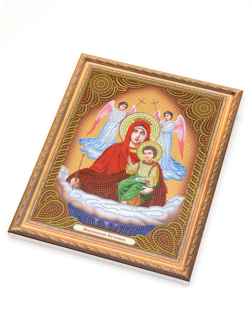 Алмазная мозаика на подрамнике «Богородица Живоносный источник» икона