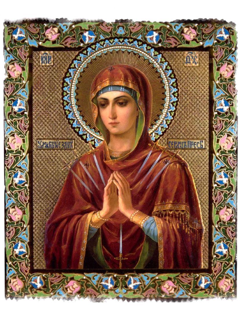 """Алмазная мозаика на подрамнике """"Божьей матери. Умиление злых сердец"""" икона"""