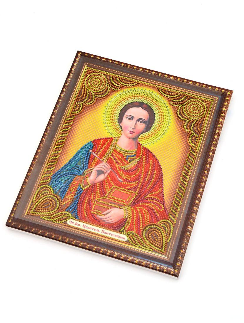 """Алмазная мозаика на подрамнике """"Святой целитель Пантелеймон"""" икона"""