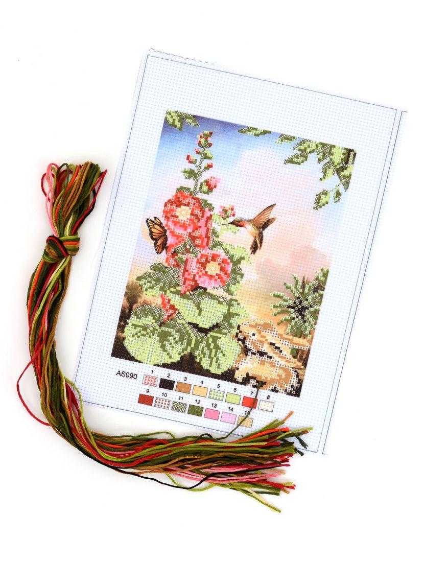 """Набор для вышивания крестом """"Цветок, кролик и колибри"""""""