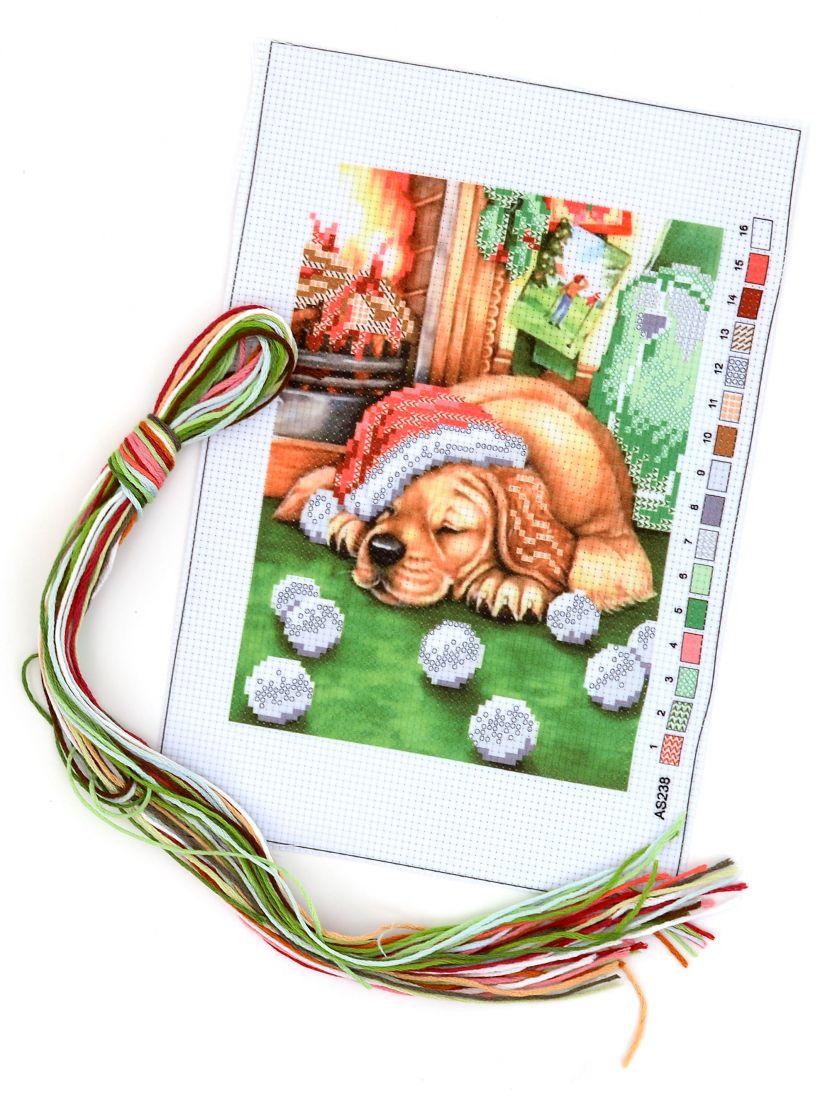 """Набор для вышивания крестом """"Новогодний пёс"""""""