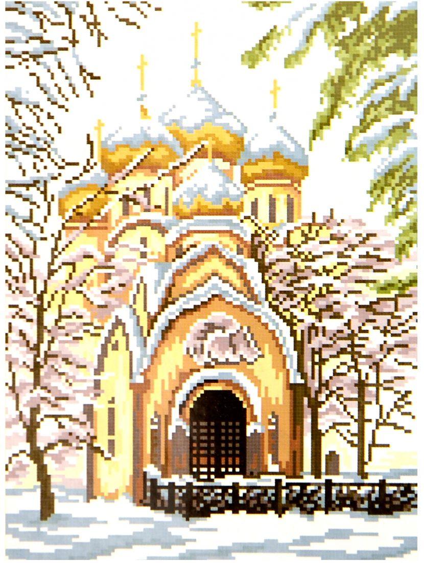 Набор для вышивания крестом «Зимний храм»