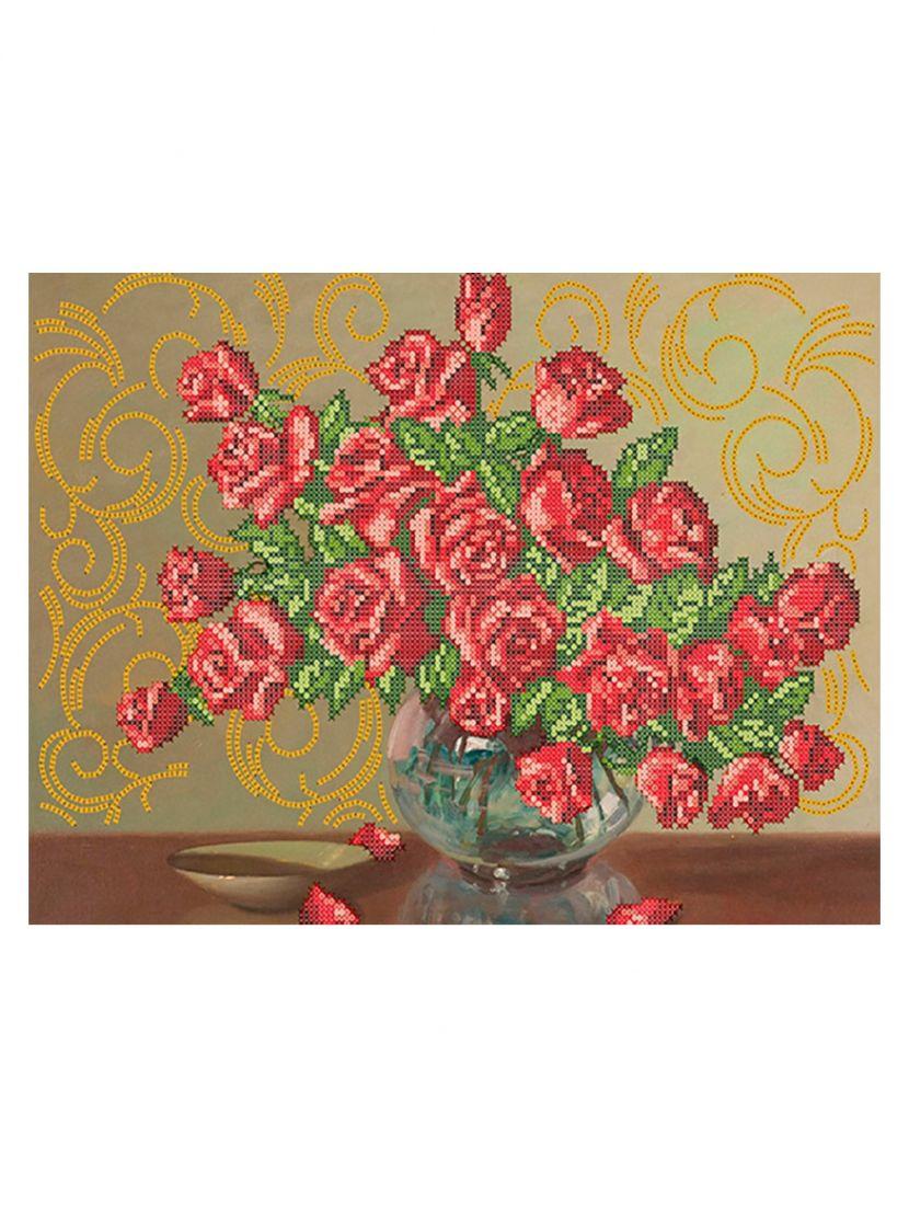 """Схема для вышивания бисером """"Розы в стеклянной вазе"""""""