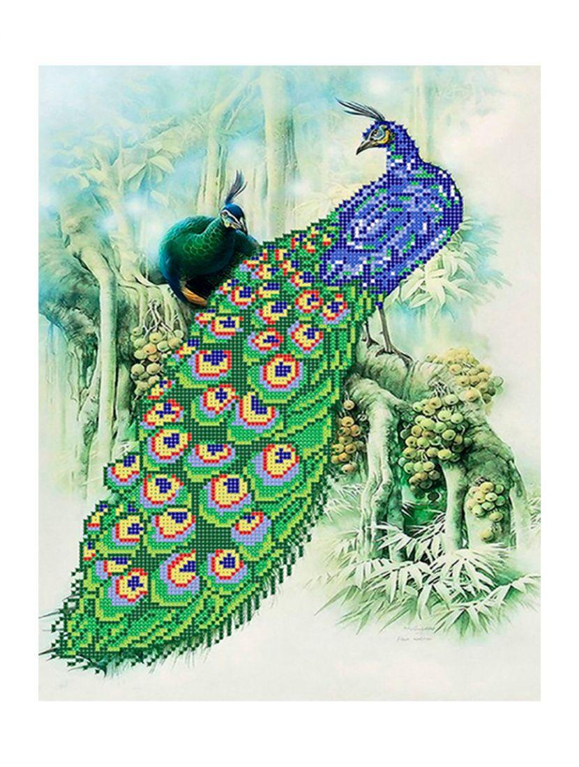 """Схема для вышивания бисером """"Павлины в джунглях"""""""