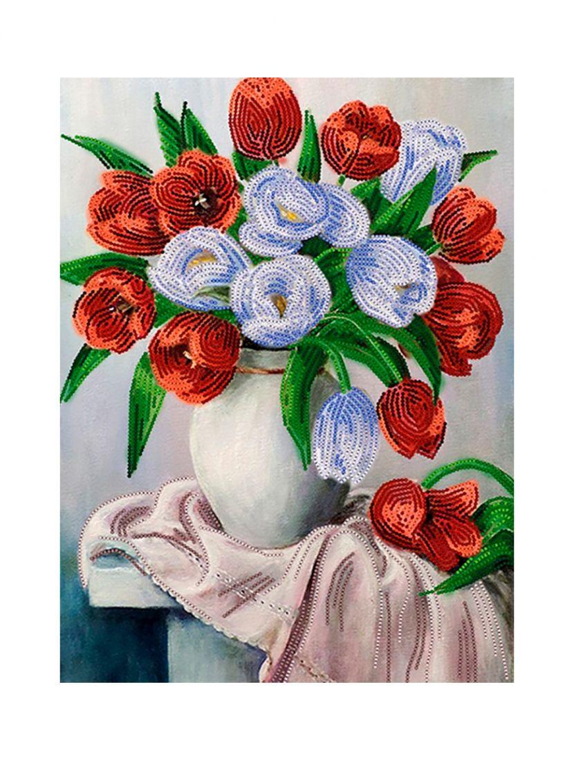 Схема для вышивания бисером «Синие и красные тюльпаны»