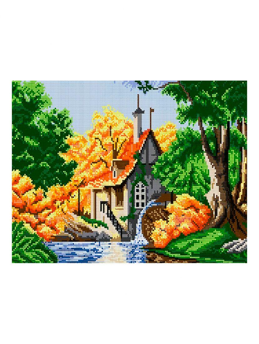 Схема для вышивания бисером «Домик в лесу»