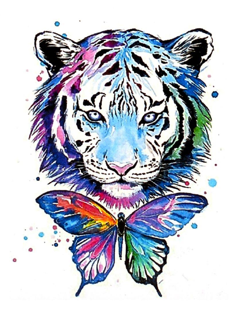 Алмазная мозаика «Тигр и бабочка»