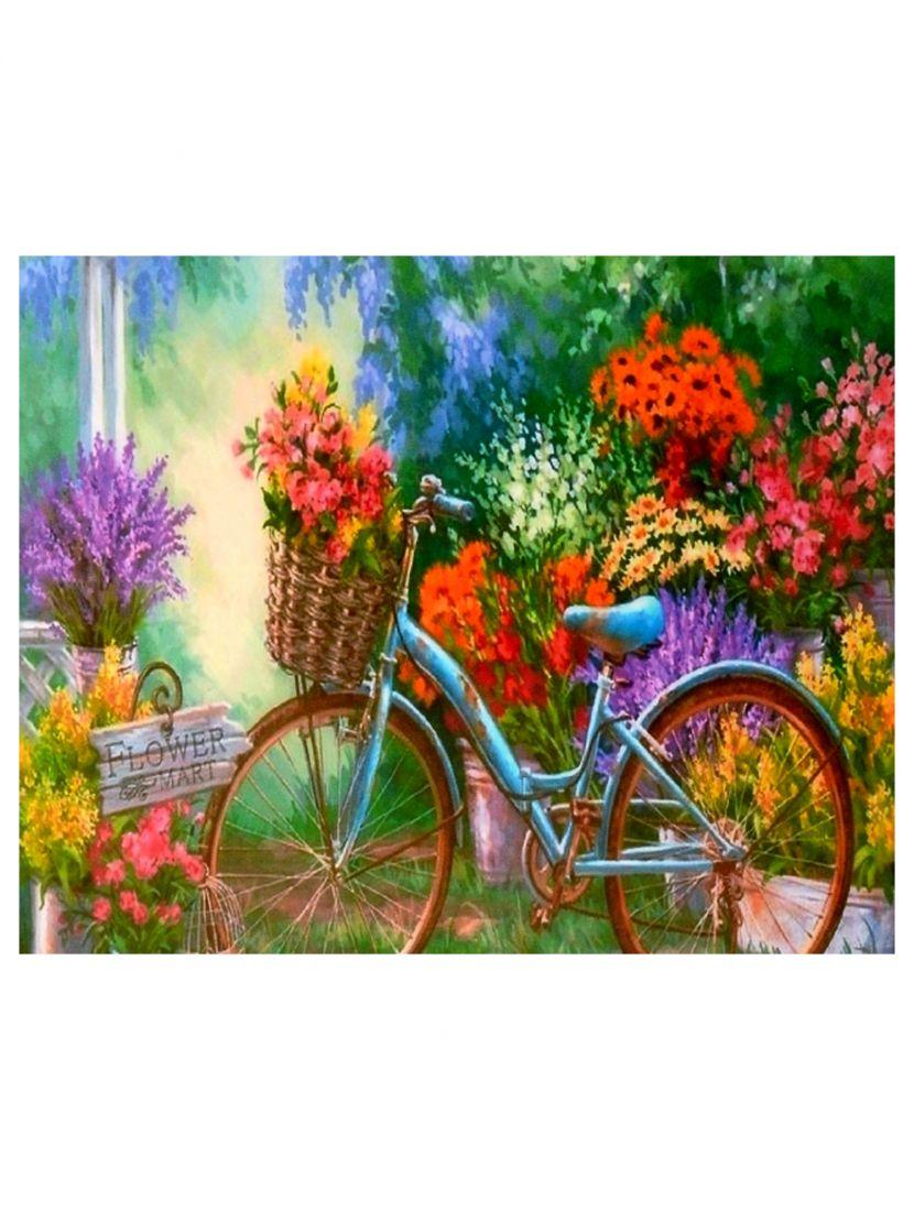 """Картина по номерам  на подрамнике """"Цветы и велосипед"""""""