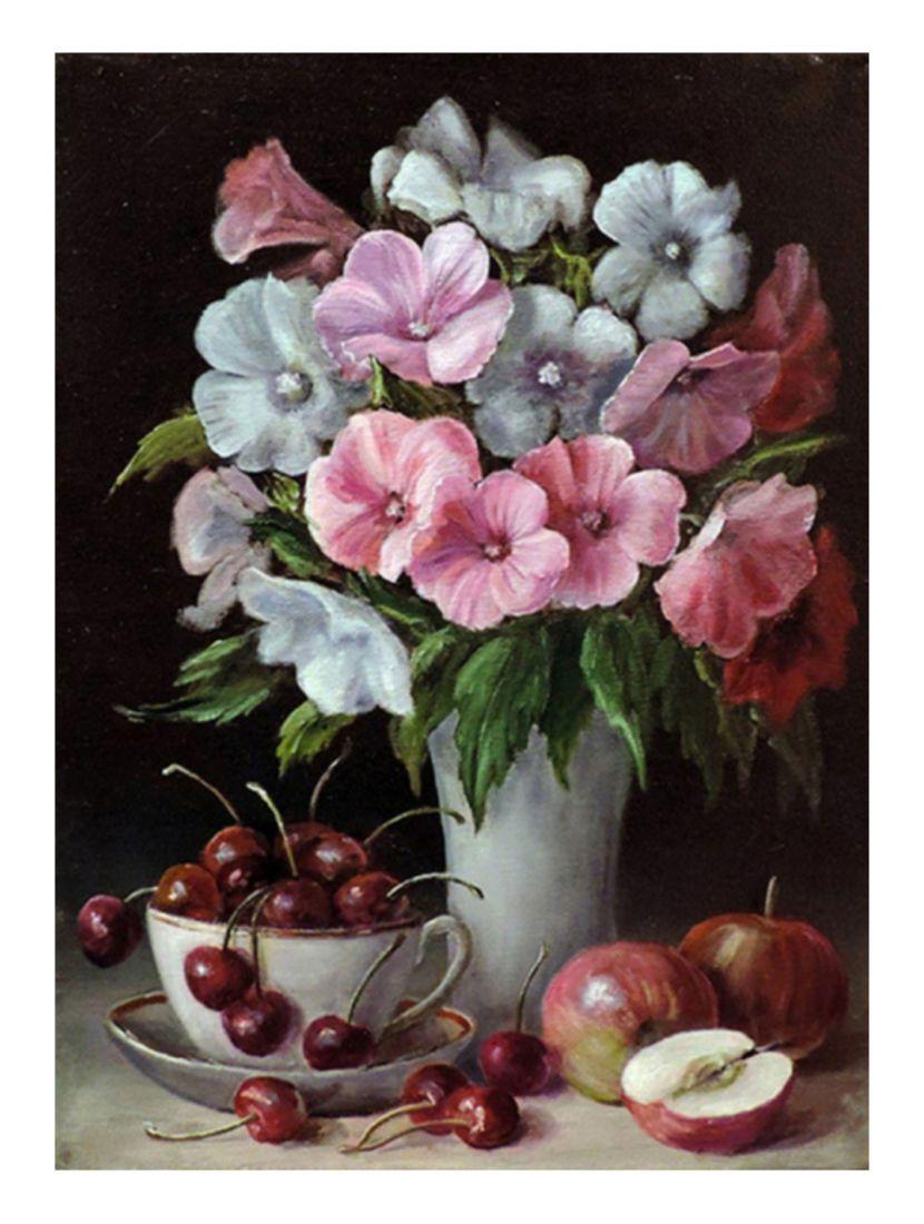 """Алмазная мозаика  """"Вишни, яблоки и цветы"""""""