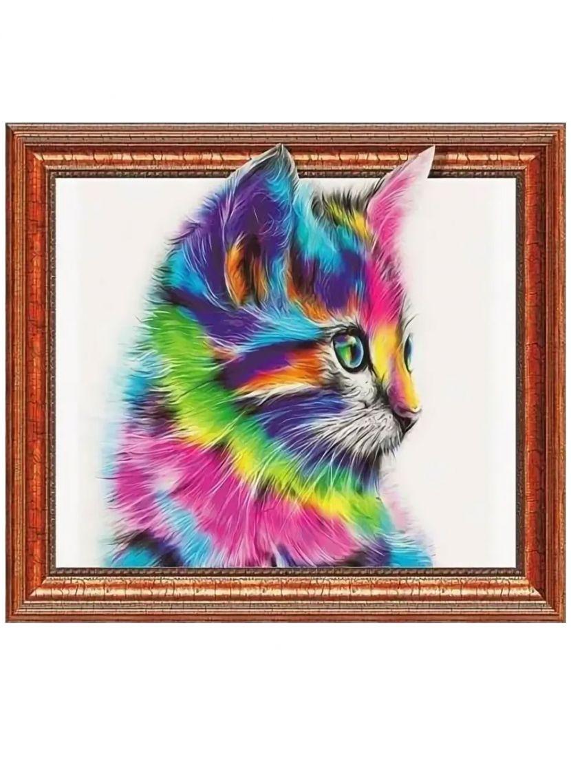 """Алмазная мозаика на подрамнике """"Радужный кот"""""""