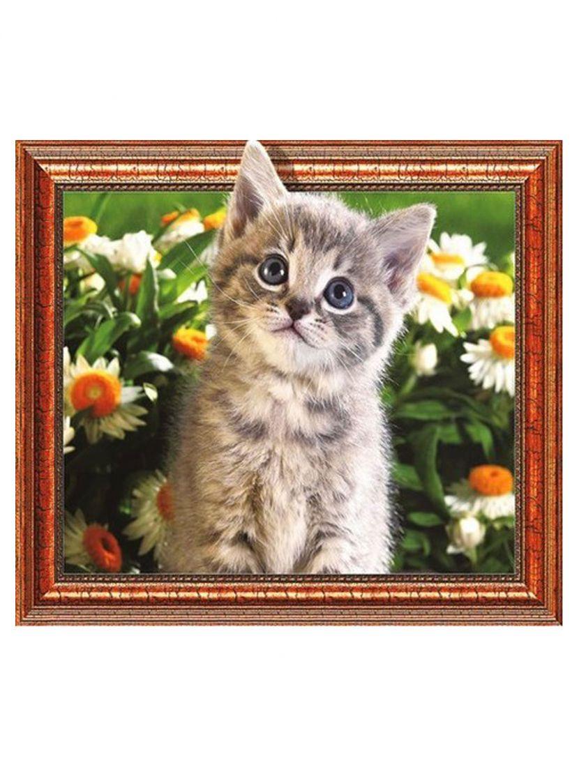 "Алмазная мозаика на подрамнике ""Котёнок и ромашки"""