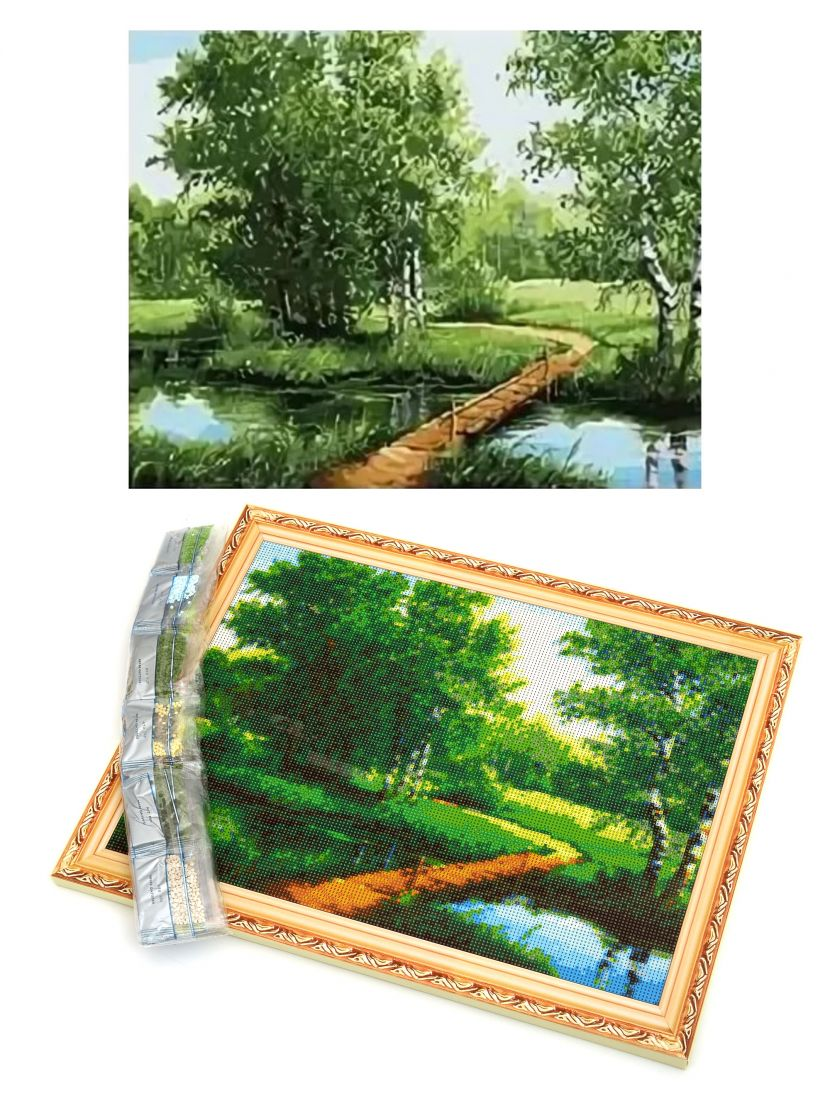 """Алмазная мозаика на подрамнике """"Лесной мостик"""""""