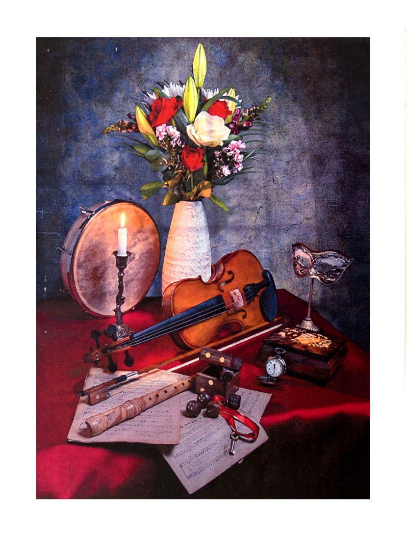 """Алмазная мозаика на подрамнике """"Цветы и скрипка"""""""