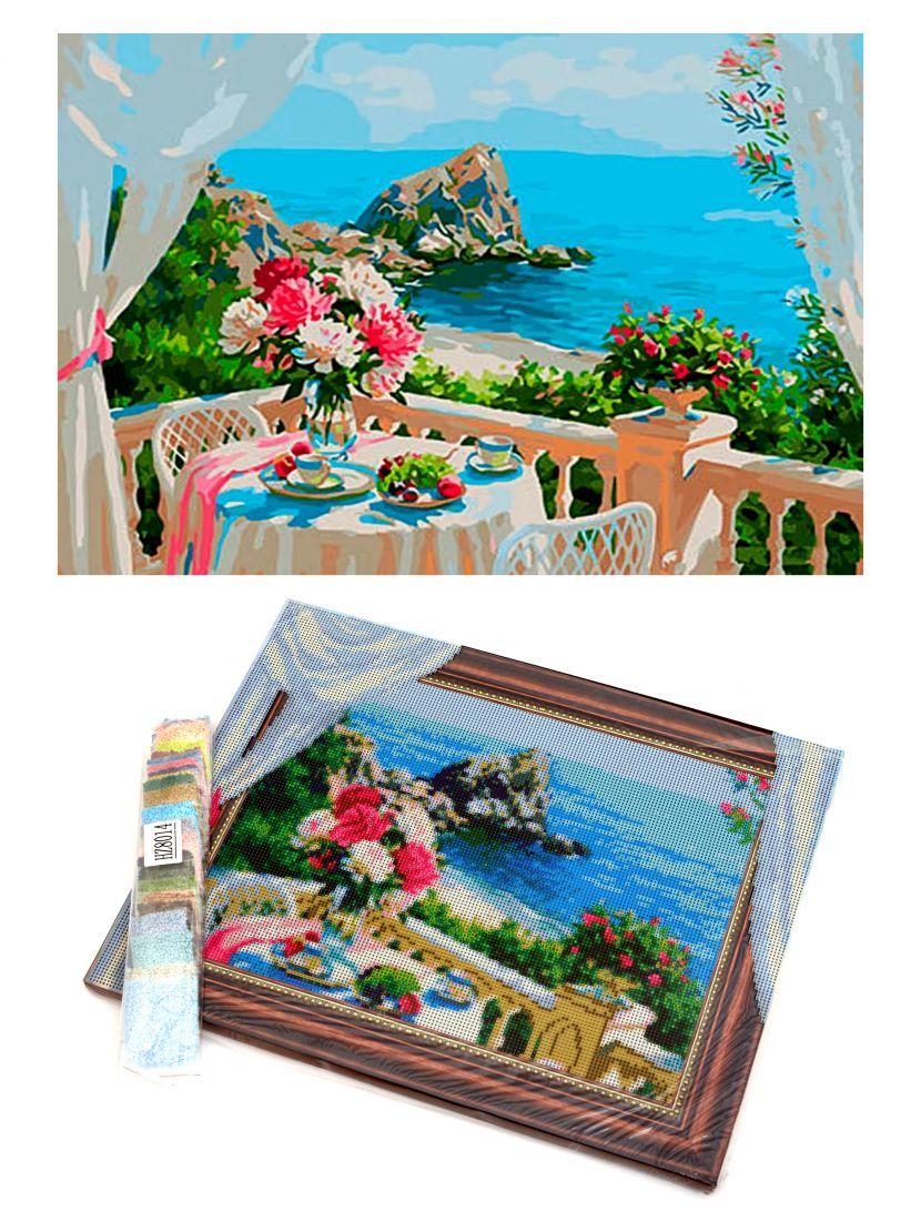 "Алмазная мозаика на подрамнике ""Чаепитие с видом на море"""