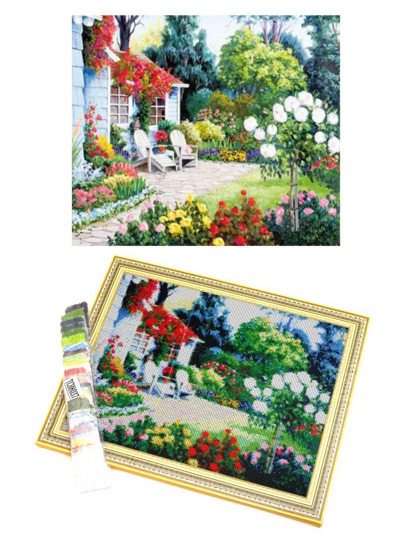 """Алмазная мозаика на подрамнике """"Усадьба с цветами"""""""
