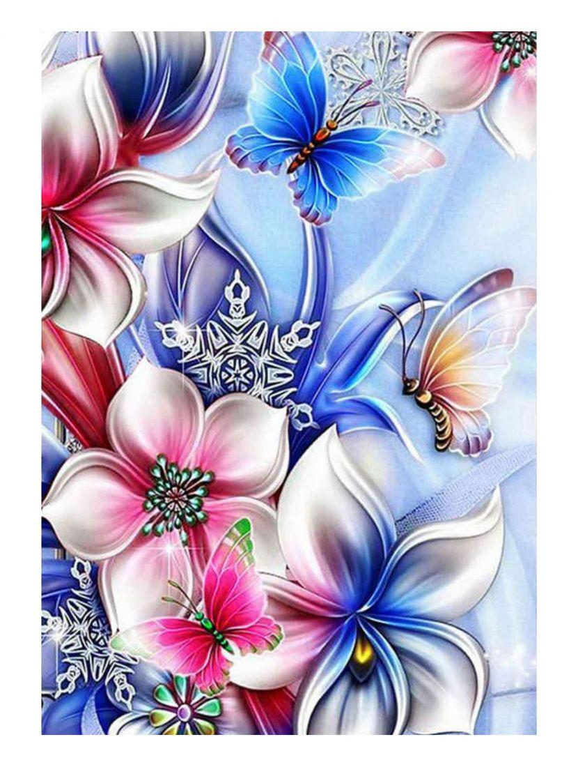 """Алмазная мозаика на подрамнике """"Цветы и бабочки"""""""
