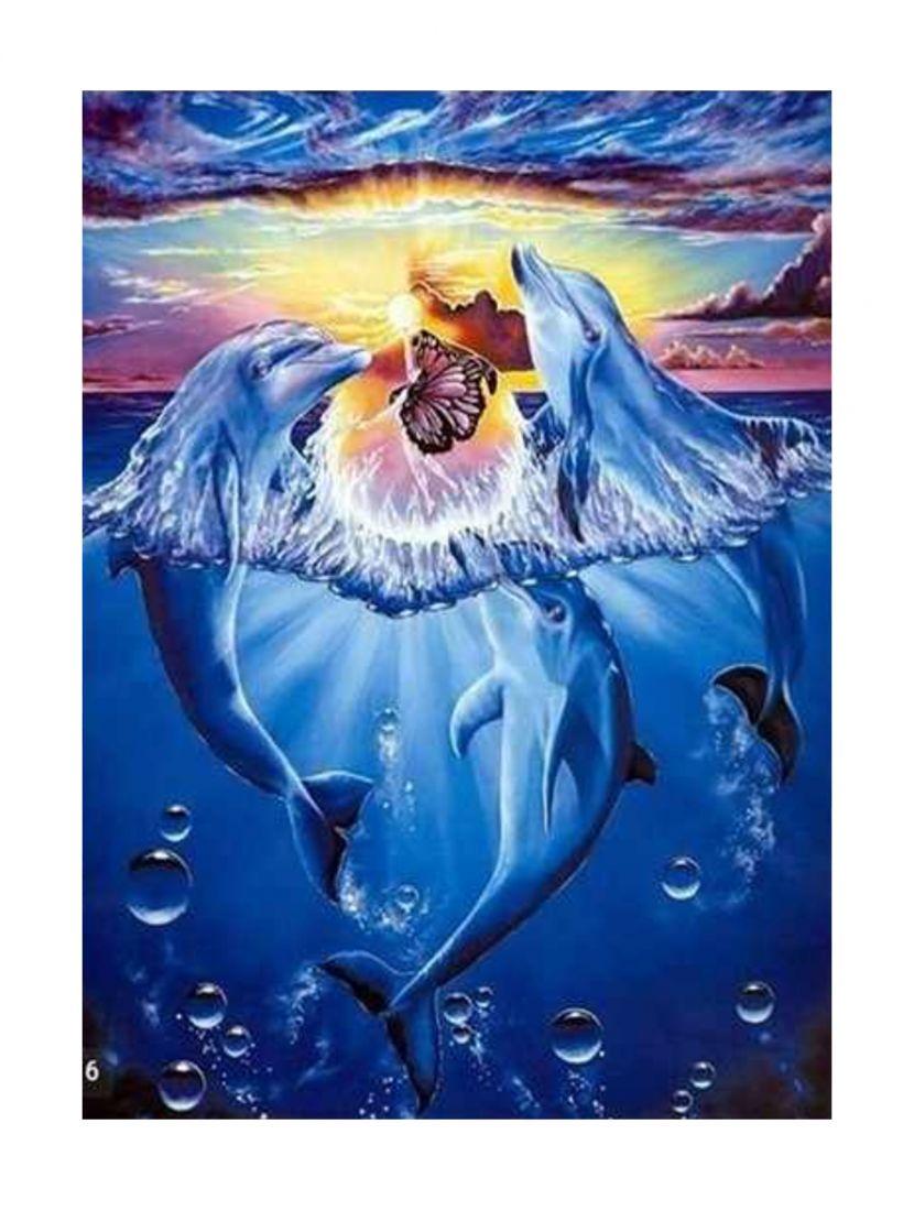 """Алмазная мозаика на подрамнике """"Дельфины"""""""