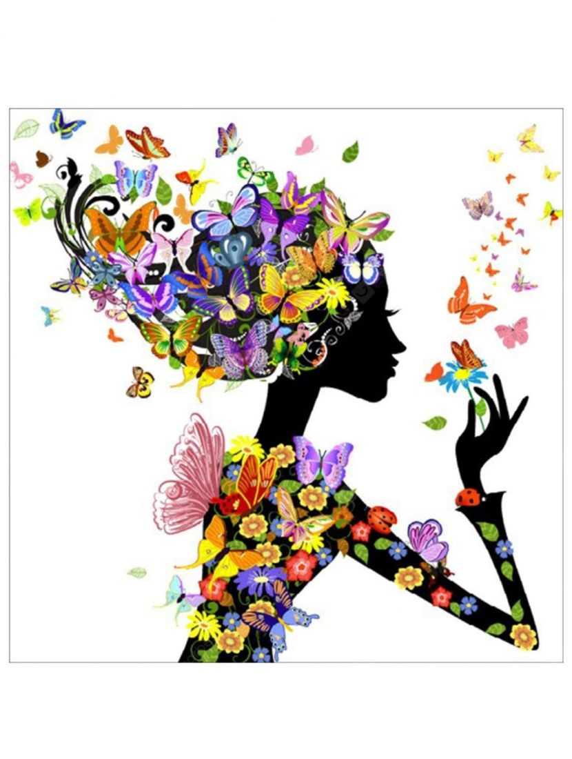 """Алмазная мозаика на подрамнике """"Образ девушки из цветов и бабочек"""""""