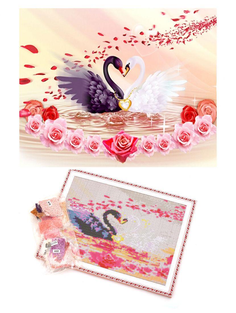 """Алмазная мозаика на подрамнике """"Белый и черный лебедь"""""""