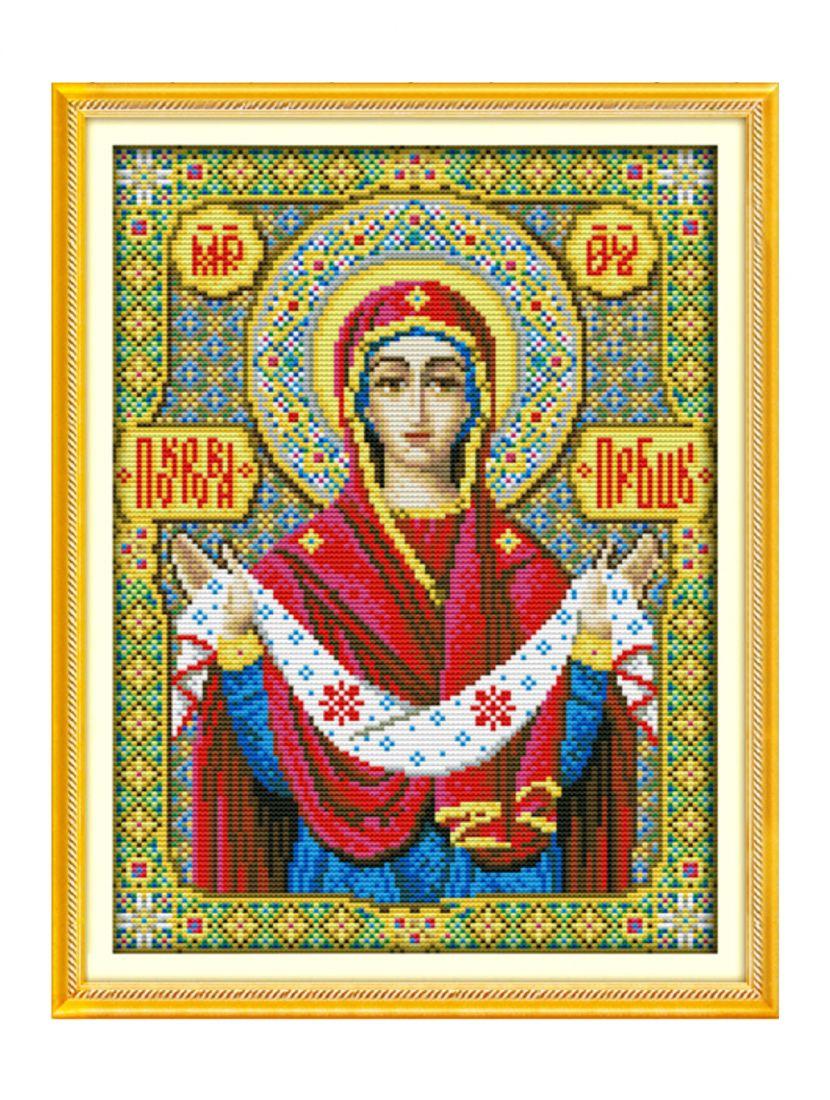 Алмазная мозаика на подрамнике «Покров Пресвятой Богородицы» икона