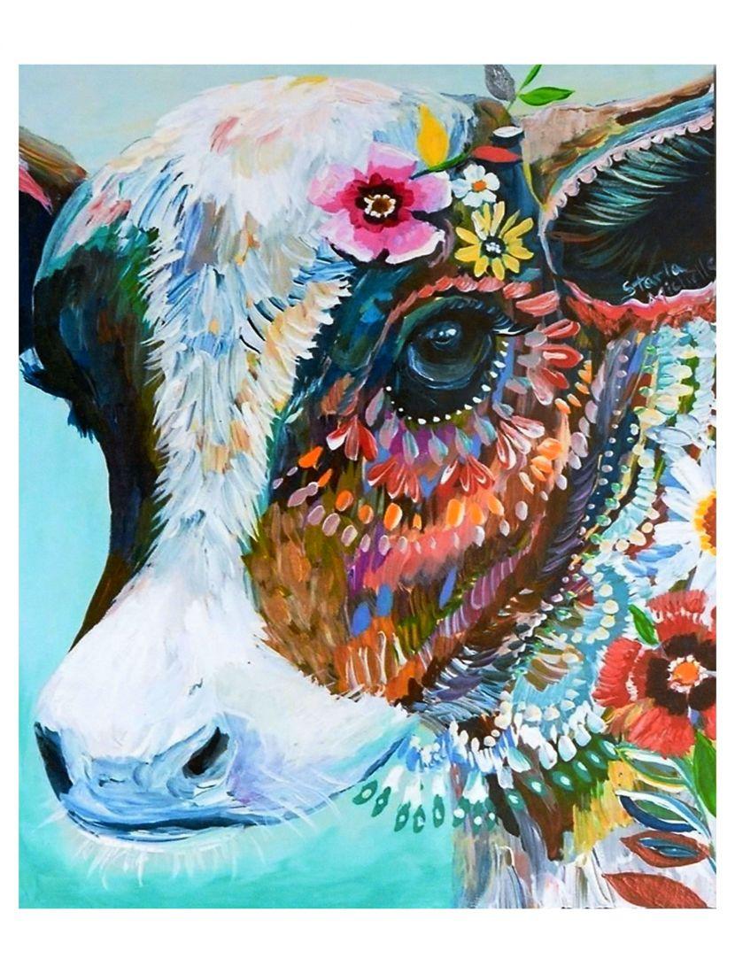 """Картина по номерам  на подрамнике """"Цветущая корова"""""""
