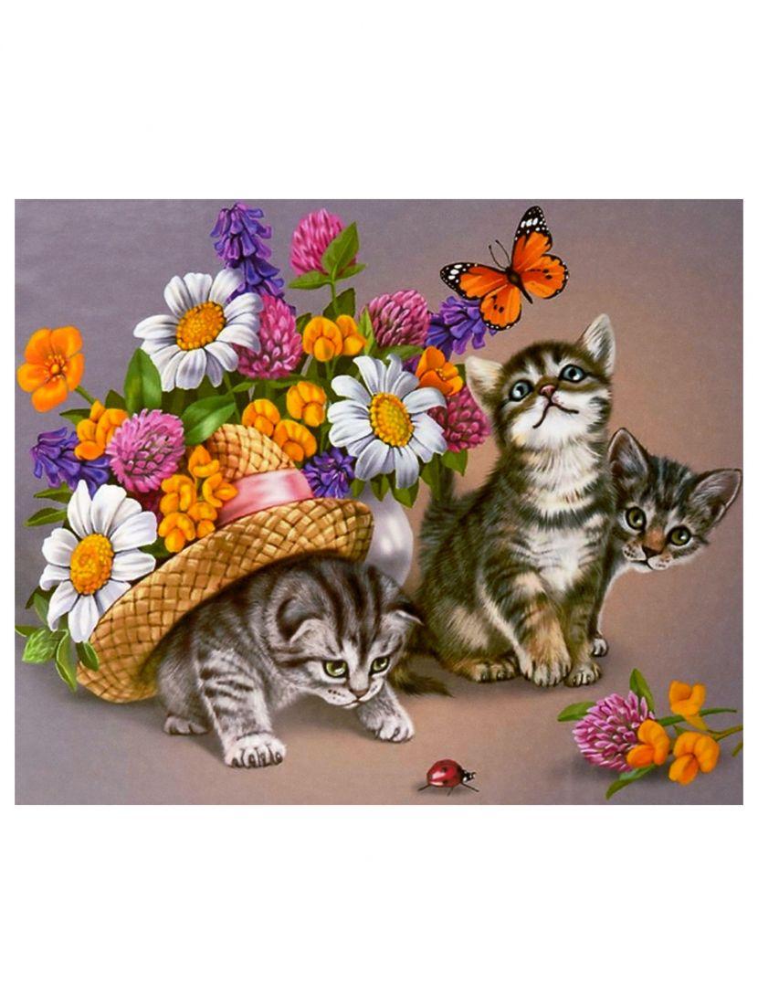 """Картина по номерам  на подрамнике """"Цветы и котята"""""""