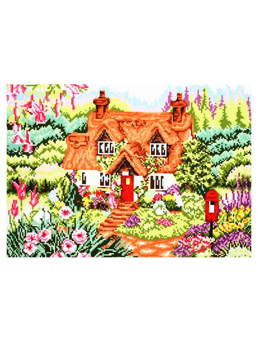 Схема для вышивания крестиком «Коттедж в цветах»