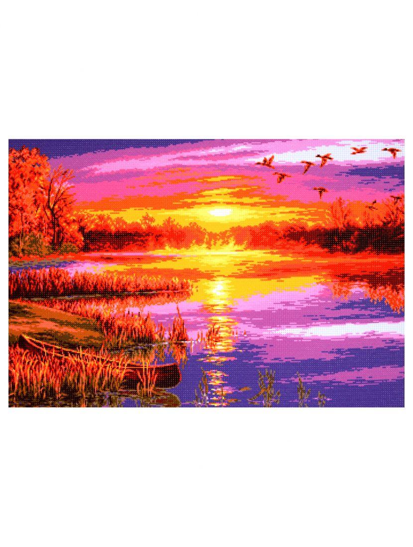 """Схема для вышивания бисером или мулине """"Осенний закат над рекой"""""""