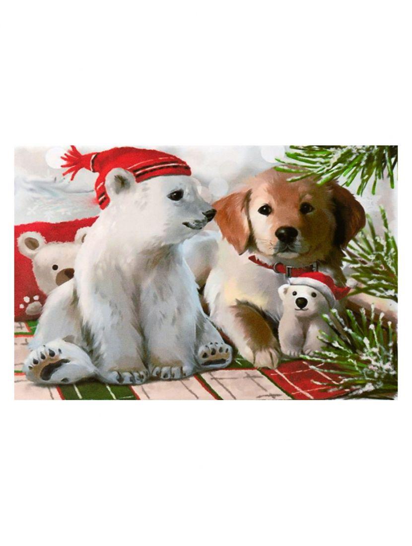 """Картина по номерам  на подрамнике """"Белый медвежонок и щенок"""""""