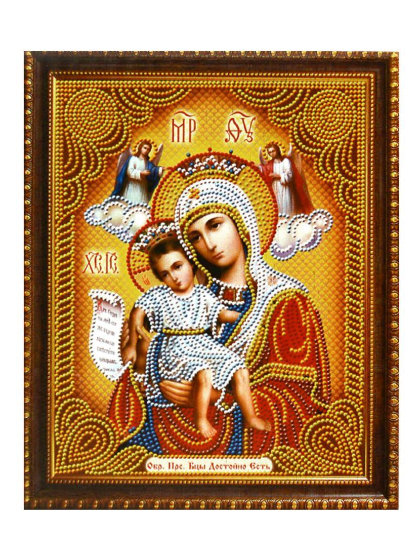 Алмазная мозаика на подрамнике «Божией матери Достойно есть» икона