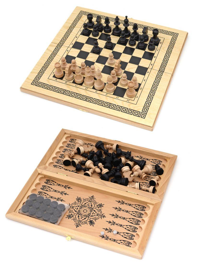 Шахматы + нарды + шашки «Краснодарские» светлые 3 в 1