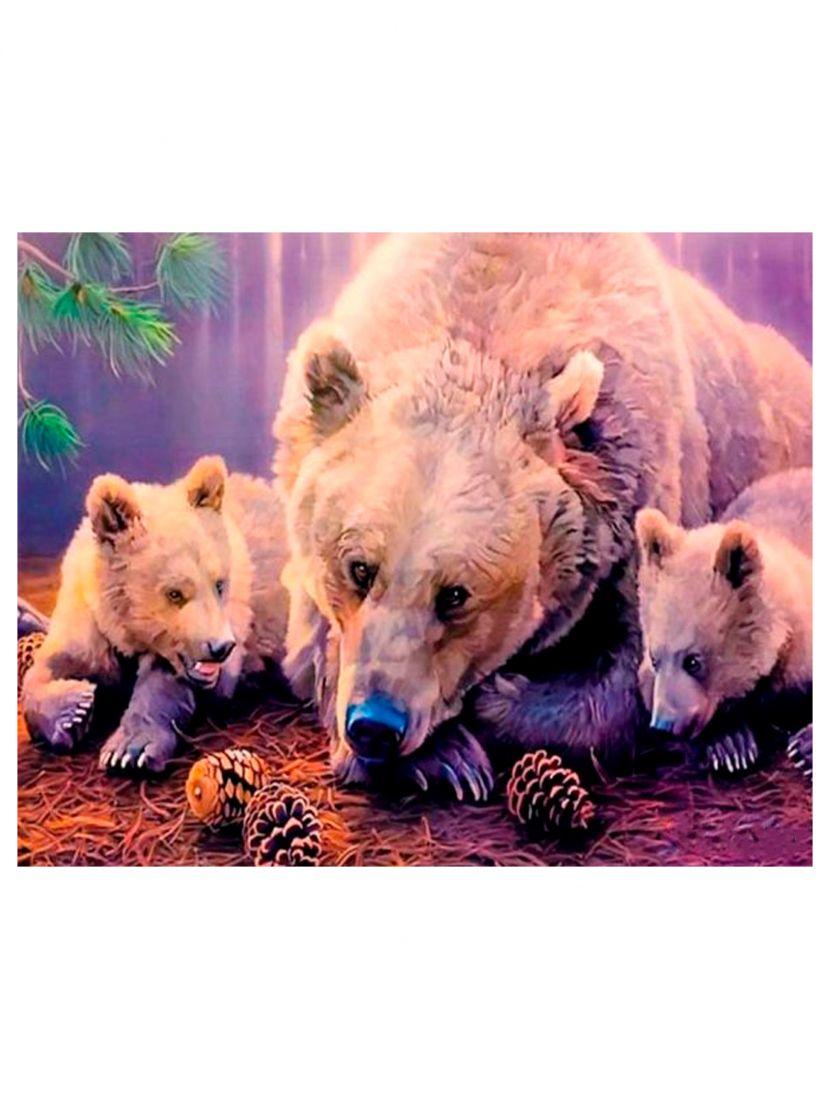 """Алмазная мозаика на подрамнике """"Три медведя в лесу"""""""
