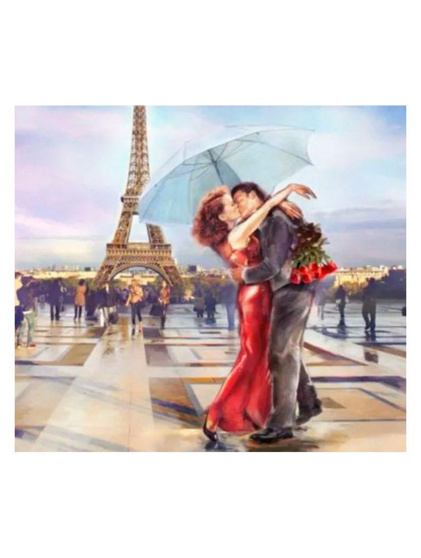 """Алмазная мозаика на подрамнике """"Роман в Париже"""""""
