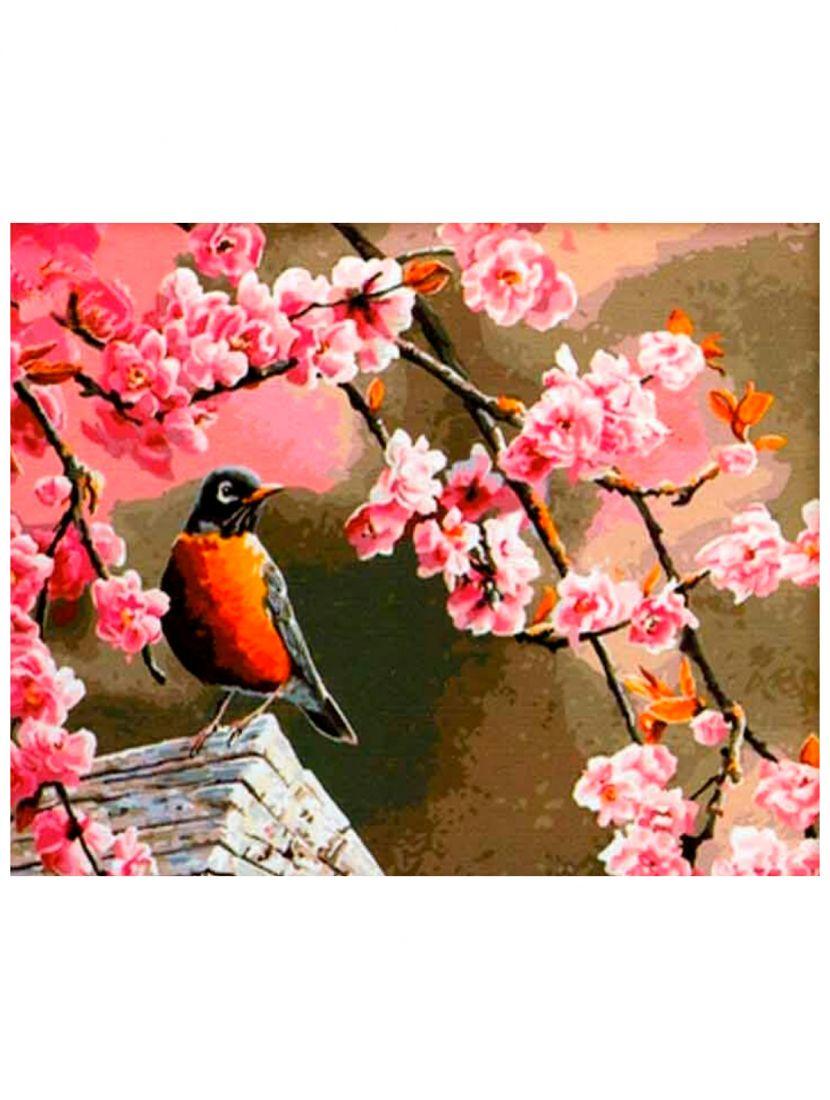 Картина по номерам  на подрамнике «Птица на сакуре»