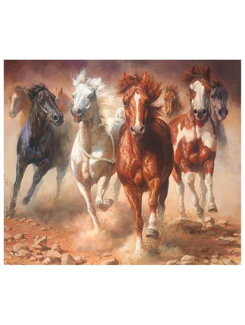 Картина по номерам  на подрамнике «Бегущие кони»