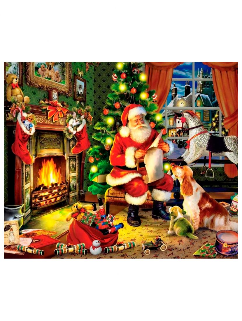 Картина по номерам  на подрамнике «Санта-Клаус»