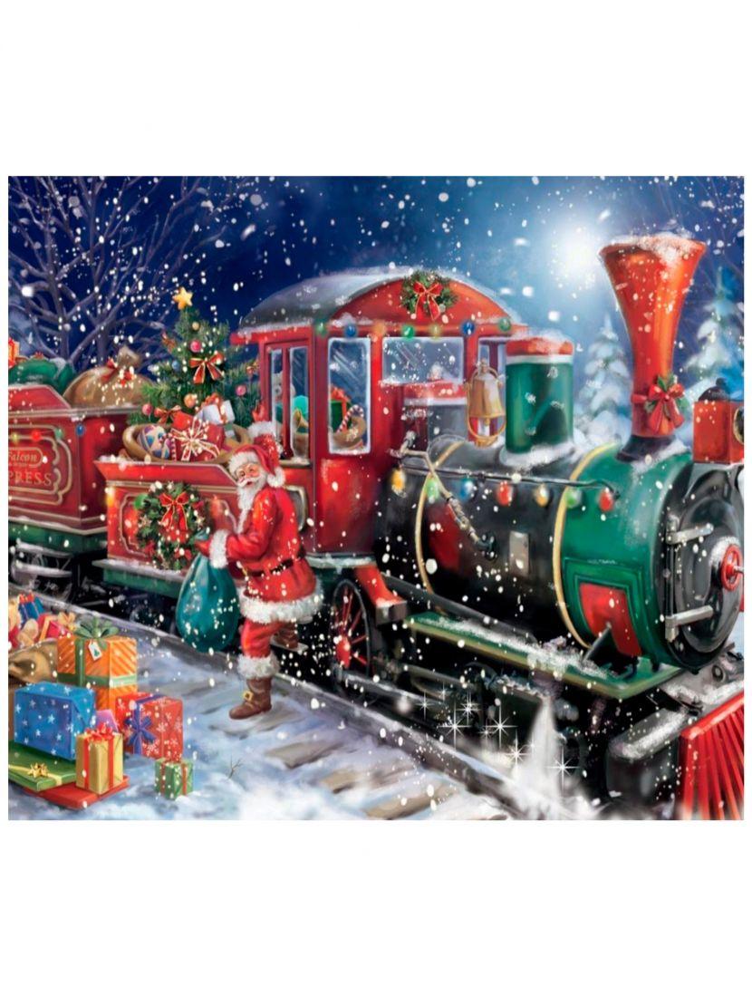 Картина по номерам  на подрамнике «Рождественский поезд»