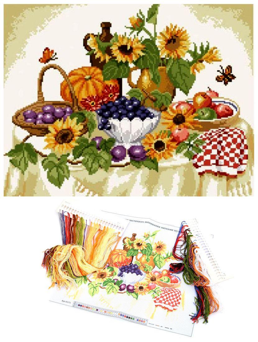 """Набор для вышивания крестом """"Подсолнухи и фрукты"""""""