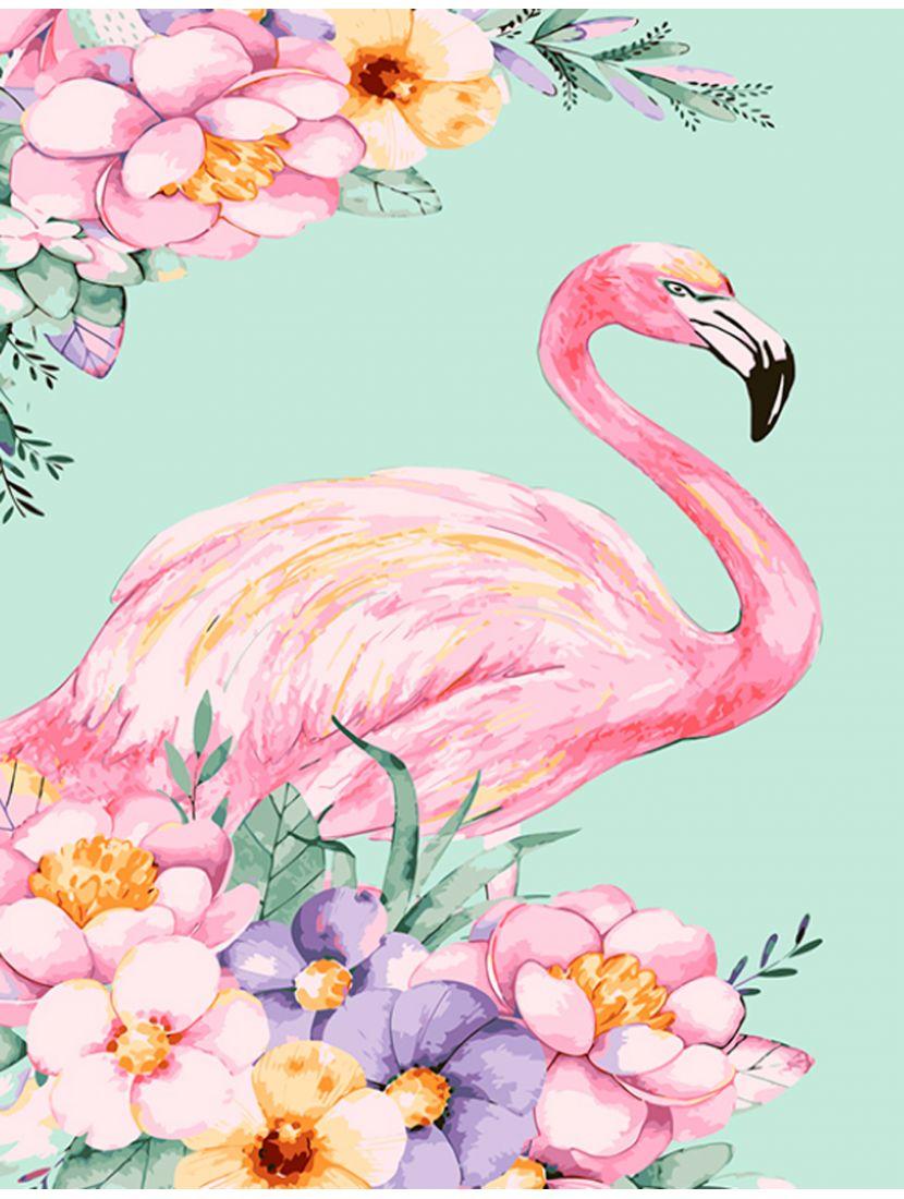 """Алмазная мозаика на подрамнике """"Фламинго в цветах"""""""