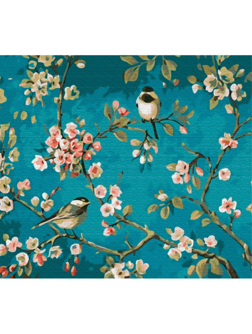 """Картина по номерам  на подрамнике """"Птички на сакуре"""""""