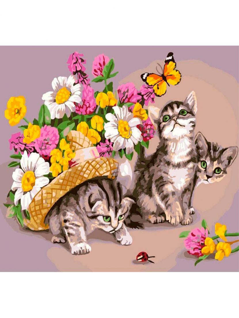 """Алмазная мозаика """"Любопытные котята"""""""