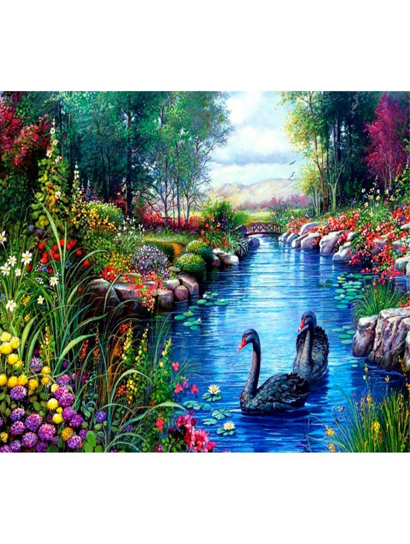 """Алмазная мозаика """"Лебеди на пруду"""""""