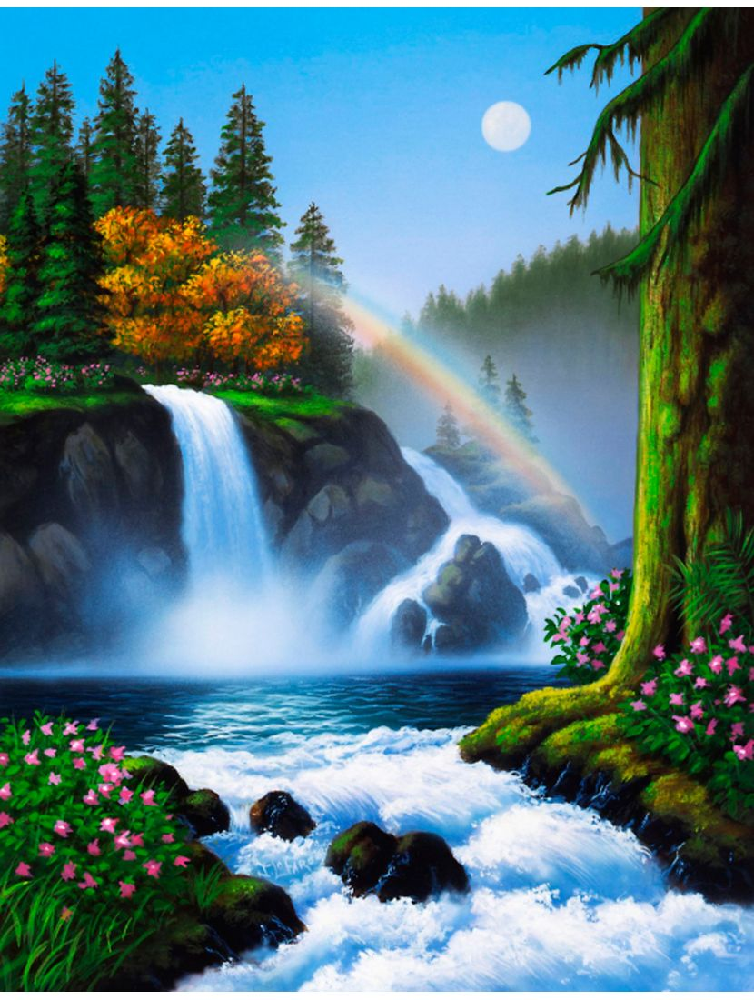 """Алмазная мозаика """"Водопад и радуга"""""""