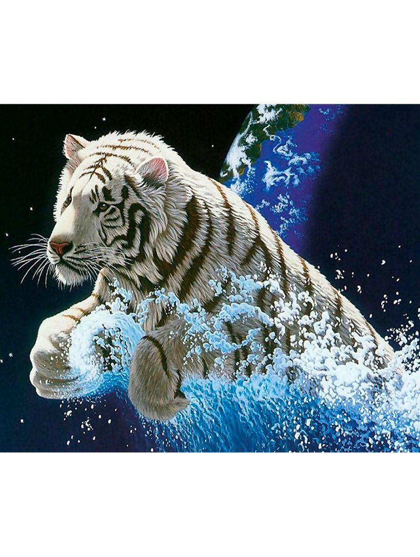 """Алмазная мозаика """"Белый тигр"""""""