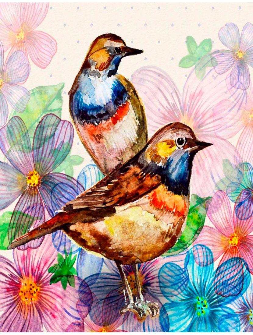 """Алмазная мозаика """"Разноцветные птицы"""""""