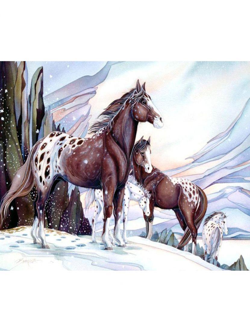 """Алмазная мозаика """"Лошади зимой"""""""