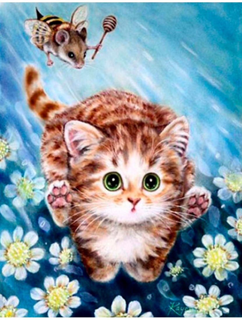"""Алмазная мозаика """"Котик в бегах"""""""
