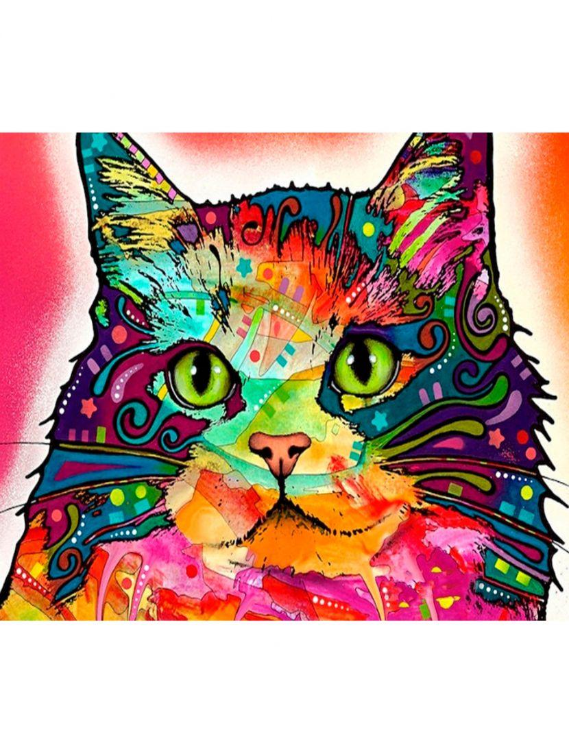 Алмазная мозаика «Кот разноцветный»